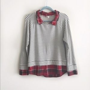 Soft Joie Diadem Striped & Plaid Pullover Sweater